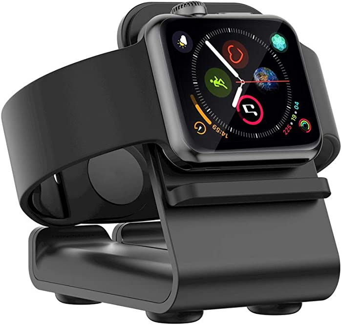 VIGLT Charging Stand for Apple Watch Stand Aluminum Charging Stand Nightstand Mode Compatible Series 5 / Series 4 / Series 3/Series 2 / Series 1 Charging Dock Station Designed for Apple Watch(Black)