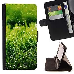 For Samsung Galaxy E5 E500 Case , Naturaleza hierba verde- la tarjeta de Crédito Slots PU Funda de cuero Monedero caso cubierta de piel