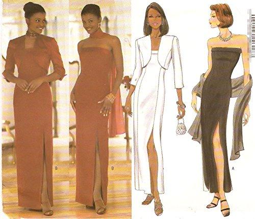 Butterick 6008 1990s Strapless Sheath Dress Shrug Pattern Bust ()