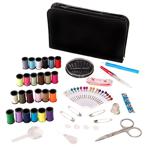 Sewing Kit by Kadin Homes - Stylish, Portable Oxford Leather - Over 120 Items For Quick Clothing Fix - Perfect For Travel, Home Use or DIY Projects - Compact Size Fits The Palm of Your Hand (Black)