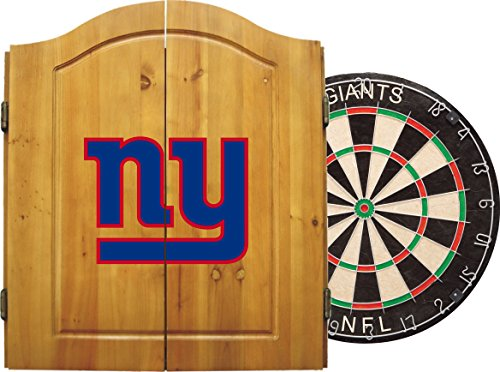 Set Dartboard Giants - Imperial Officially Licensed NFL Merchandise: Dart Cabinet Set with Steel Tip Bristle Dartboard and Darts, New York Giants