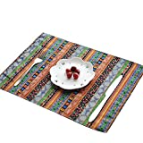 Aothpher Washable Square Place Mats Dining Table Mats Everyday Use Placemats for Kitchen Table, Set of 4, 12''x16''