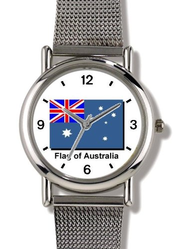 Flag of Australia - WATCHBUDDY ELITE Chrome-Plated Metal Alloy Watch with Metal Mesh Strap-Size-Small ( Children's Size - Boy's Size & Girl's Size (Aussie Flag Dress)