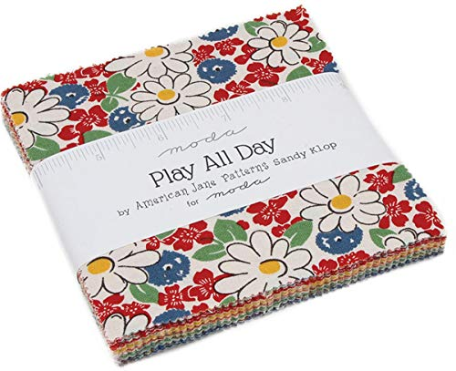 (Play All Day Charm Pack by American Jane; 42-5 Inch Precut Fabric Quilt Squares )