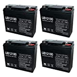 Universal Power Group UB12180 12V 18AH Internal Thread Battery for YardWorks Lawn Mower - 4 Pack