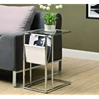 White/Chrome Metal Accent Table with a Magazine Holder