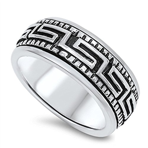 Double Accent Sterling Silver Oxidized Finish Greek Key Spinner Ring 10mm (Size 6 to 13) Size 8