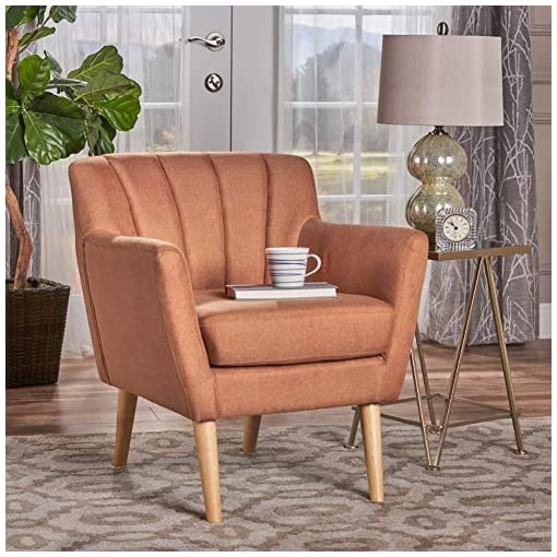 Farmhouse Accent Chairs Christopher Knight Home Merel Mid-Century Modern Fabric Club Chair, Orange / Natural farmhouse accent chairs