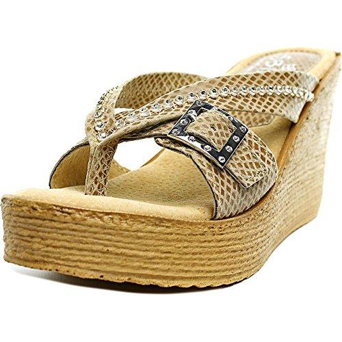Sbicca Women's Horizon Snake Wedge Sandal,Taupe Snake,8 B US