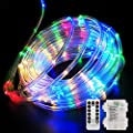Fitybow 39FT 120 LED Rope Lights, Battery Operated String Lights 8 Modes Fairy Lights with Remote Timer, Outdoor Decoration Lighting for Garden Patio Party, Weddings, Christmas Décor