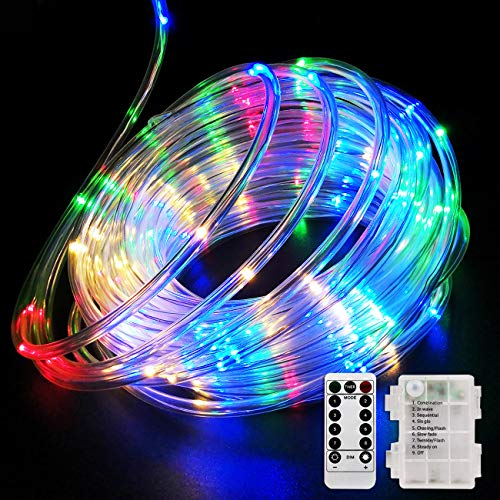 Fitybow 39FT 120 LED Rope Lights, Battery Operated String Lights 8 Modes Fairy Lights with Remote Timer, Outdoor Decoration Lighting for Garden Patio Party, Weddings, Christmas Décor (Multi-Color)