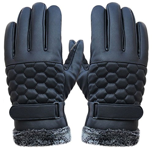 1 Pcs (1 Pair) Notable Popular Men Thermal Warm Leather Gloves Snow Decoration Wrist Driving Motorcycle Hand Cover Color Black (Safe Driving Tips For Halloween)