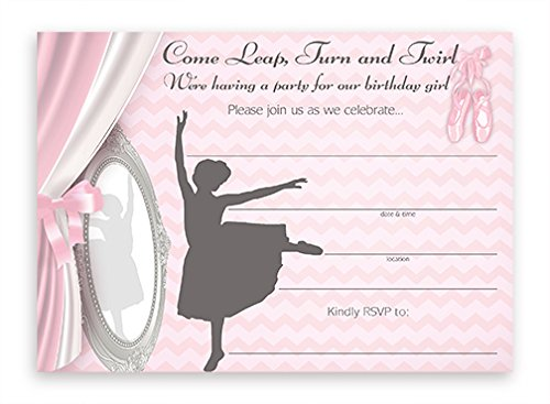 POP parties Ballet LARGE Invitations - 10 Invitations 10 Envelopes ()