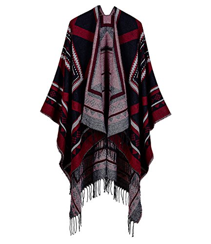 MedeShe Women's Printed Tassel Open Front Poncho Cape Cardigan Wrap Shawl