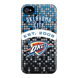 Scratch Resistant Hard Phone Cover For Iphone 4/4s With Unique Design Trendy Oklahoma City Thunder Pattern JoanneOickle