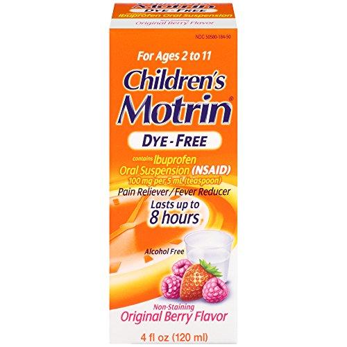 Children's Motrin Oral Suspension Dye-Free Berry, Ibuprofen, Fever Reducer, 4 Oz (Reducer Fever Suspension)