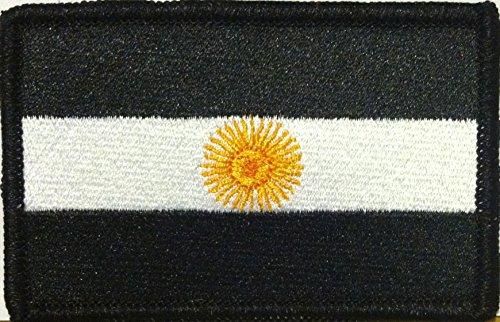 ARGENTINA Flag Iron-on Patch MC Biker Emblem Black, White & Gold Version Black Border ()