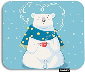 AOYEGO Bear Mouse Pad Cute Polar Bear with Red Heart Cup Polka Dot Scarf Winter Snow Gaming Mousepad Rubber Large Pad Non-Slip for Computer Laptop Office Work Desk 9.5x7.9 Inch White Blue