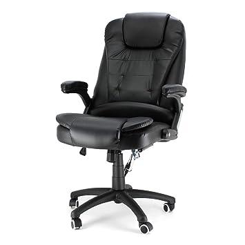 Massage Chaise de Bureau de Électrique Massant Relaxation Pivotante à 360 Fauteuil  Direction Noir e1d47dedabb1