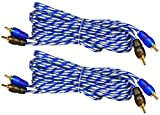 (2) Rockville RTR122 12 Foot 2 Channel Twisted Pair Car RCA Cables, 100% Copper