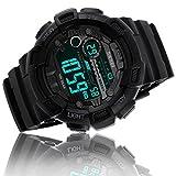 Digital Watch Men Waterproof Sports Watch - Timer, Alarm, Countdown, 165FT Water Resistant, Black