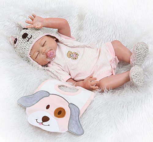 NPK Reborn Baby Dolls Girls Silicone Full Body Lifelike Reborn Doll Sleeping Anatomically Correct Washable Toy Doll Reborn Babies 20inch 50cm Pink (Silicone Baby Dolls Full Body)