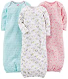 Simple Joys by Carter's Girls' 3-Pack Cotton Sleeper Gown, Blue, Pink, White Floral, 0-3 Months