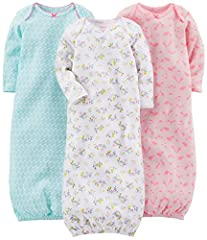 A three-pack of long-sleeve gowns are made with cuddle-ready cotton, a lapped neck, and playful prints.