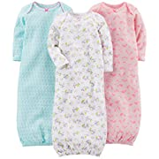 Simple Joys by Carter's Baby Girls' 3-Pack Cotton Sleeper Gown, Blue, Pink, White Floral, 0-3 Months