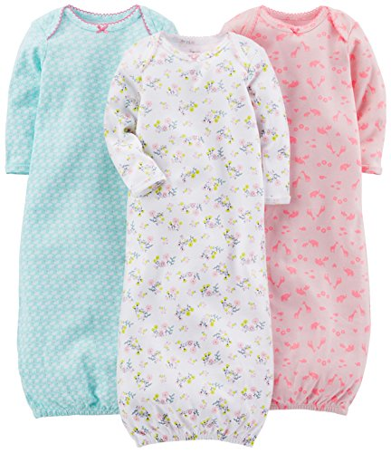 Simple Joys by Carter's Girls' 3-Pack Cotton Sleeper Gown, Blue, Pink, White Floral, 0-3 (Carters Girls Sleeper)