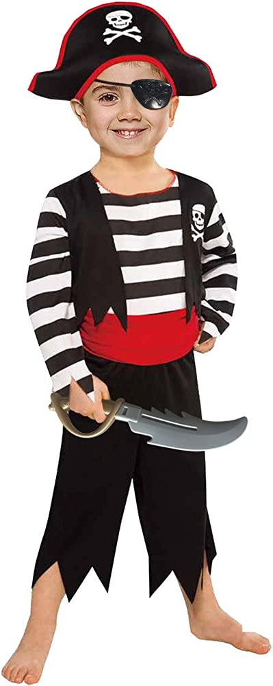 SPUNICOS Children's Pirate Costume with Pirate Hat,Eyepatch,Pirate Cutlass