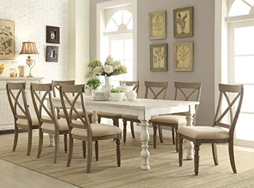 Roundhill Furniture T2125-C2135X4 Trani Weathered Worn White 9-Piece Dining Set with Extendable Table, (Table Room Dining Extendable)