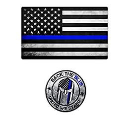 VGX Tactical Thin Blue Line Flag Spartan Stickers (2 Multi Pack)