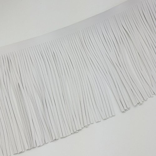 (Pu Leather Tassel White Lace Adornment DIY Craft Cloth Bag Shoes Row Fringe (White) )