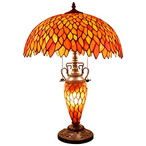 (Red Wisteria Tiffany Table Lamp 24 Inch Tall Pull Chain 3 Light Stained Glass Base for Bedroom Beside Desk Lamp Antique Base for Living Room Coffee Table Bedroom S523R WERFACTORY)
