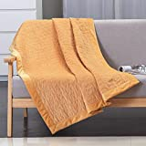 HOH Howtter Flannel Blanket Quilted with Special Pattern Cozy Plush Microfiber Solid Quilted Orange Throw Blanket 40''X60''