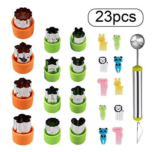 BAKHUK 12 Pcs Vegetable Shapes Cutters, Fruit Cookie Cutters, Melon Baller Scoop and Carving knife and 10 Kids Fruit Picks Forks as Gifts, for Cookies and Kids Crafts, Kitchen Food Decoration