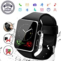 Smart Watch,Bluetooth Smartwatch Touch Screen Wrist Watch with Camera/SIM Card Slot,Waterproof Phone Smart Watch Sports Fitness Tracker Compatible Android Phone iOS Phones Black