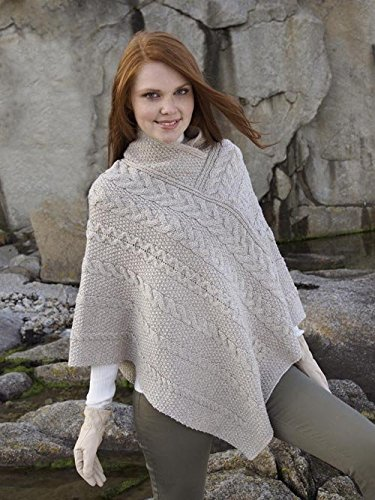 Aran Cable Poncho Parsnip
