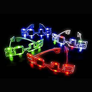 New Years Eve LED Party Flashing 2018 Glasses, Great For Holidays, Christmas, New Years Party 12 Pack (3 of Each Color)