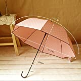 Pink Women'S Long Handle Sun Umbrella Dot Printed Girl Lovely Straight Rain Umbrella