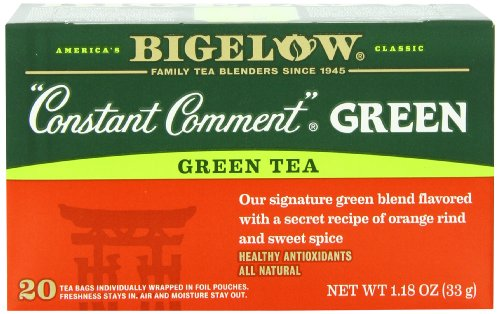 Bigelow Constant Comment Green Tea 20 Count Boxes 1 18Oz  Pack Of 6   Premium Spiced Green Tea  Antioxidant Rich All Natural Gluten Free Medium Caffeine Tea In Foil Wrapped Bags