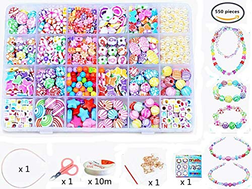 Bead Kit - Vytung Beads Set for Jewelry Making Kids Adults Children Craft DIY Necklace Bracelets Letter Alphabet Colorful Acrylic Crafting Beads Kit Box with Accessories(color#6)