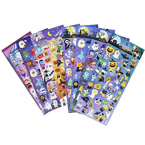 Happy Halloweens Stickers 8 Sheets with Ghost, Pumpkin, Demon, Wizard, Mummy, Vampire, Witch, Skull, Bat, Spider Stickers Deacals For Jack O Lantern Decoration Scrapbooking Kids Party Favors -