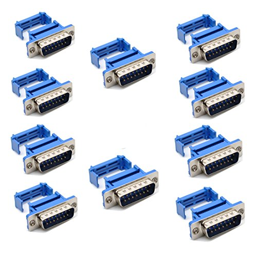 Willwin 10pcs D-SUB DB15 15 Pin Male IDC Type Crimp Connector for Flat Cable (Pin 15 Connector Type)