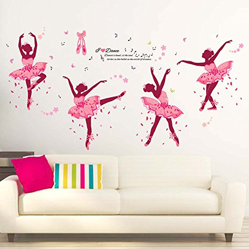 iwallsticker DIY Creative Dancing Girl Wall Stickers Pink Ballerina Girl Wall Decor For Bedroom Living Room Bathroom Home - Room Decor Ballerina