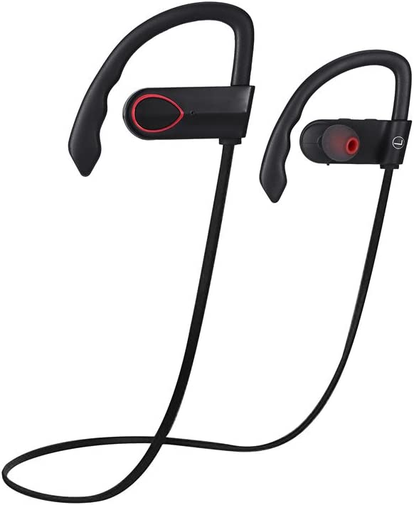 Bluetooth Headphones, Wireless in Ear Earbuds V4.1 Sports Sweatproof Earphones with Mic for Running, Cycling, Hiking and Gym, Powerful & Fast Recharging Battery ,8 Hours of Play time-Black