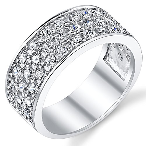 Sterling Silver Men's Wedding Band Engagement Ring With Cubic Zirconia CZ 9MM 3 Row Size 13