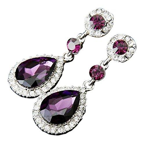 Godathe Classic Crystal Wedding Jewelry Rhinestone Eardrops Earrings Gifis for Women Girls