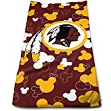 """Sorcerer Washington Redskins 100% Polyester Velvet (Polyester Brocade) Super Absorbent Cartoon Mouse Towel Sports Towel (11.8"""" x 27.6"""")"""
